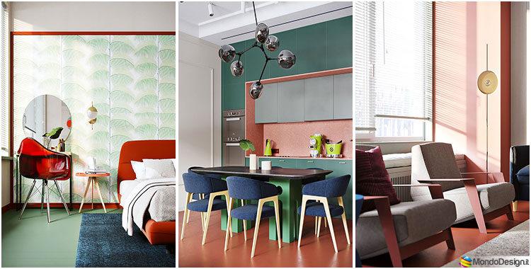 Una casa con arredamento vintage che combina rosso blu e verde - Arredamento casa vintage ...
