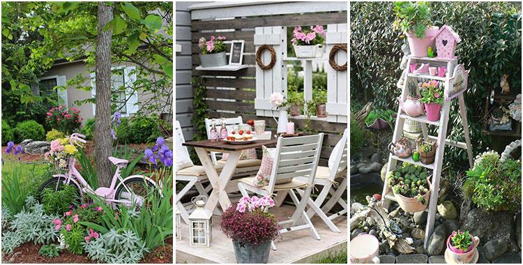 Giardino shabby chic 30 idee di arredamento originali for Arredo ville e giardini