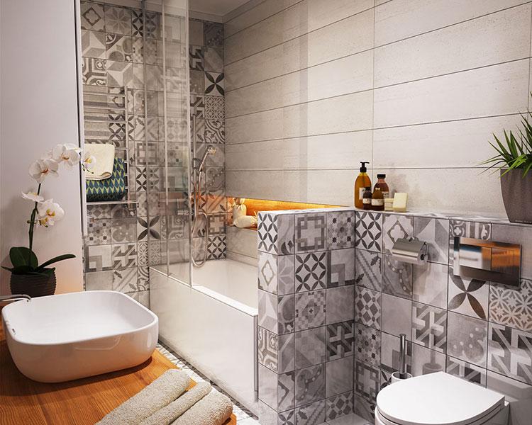 Progetto di bagno piccolo con vasca n.29