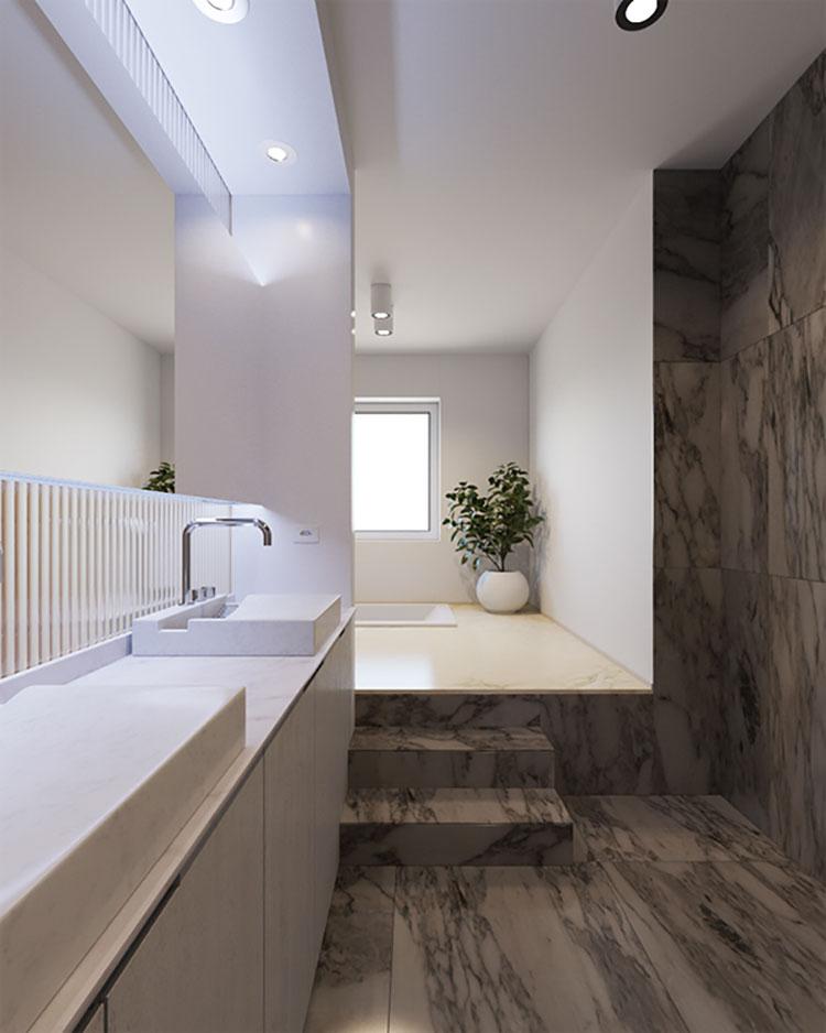 Idee per arredare un bagno stretto e lungo n.3