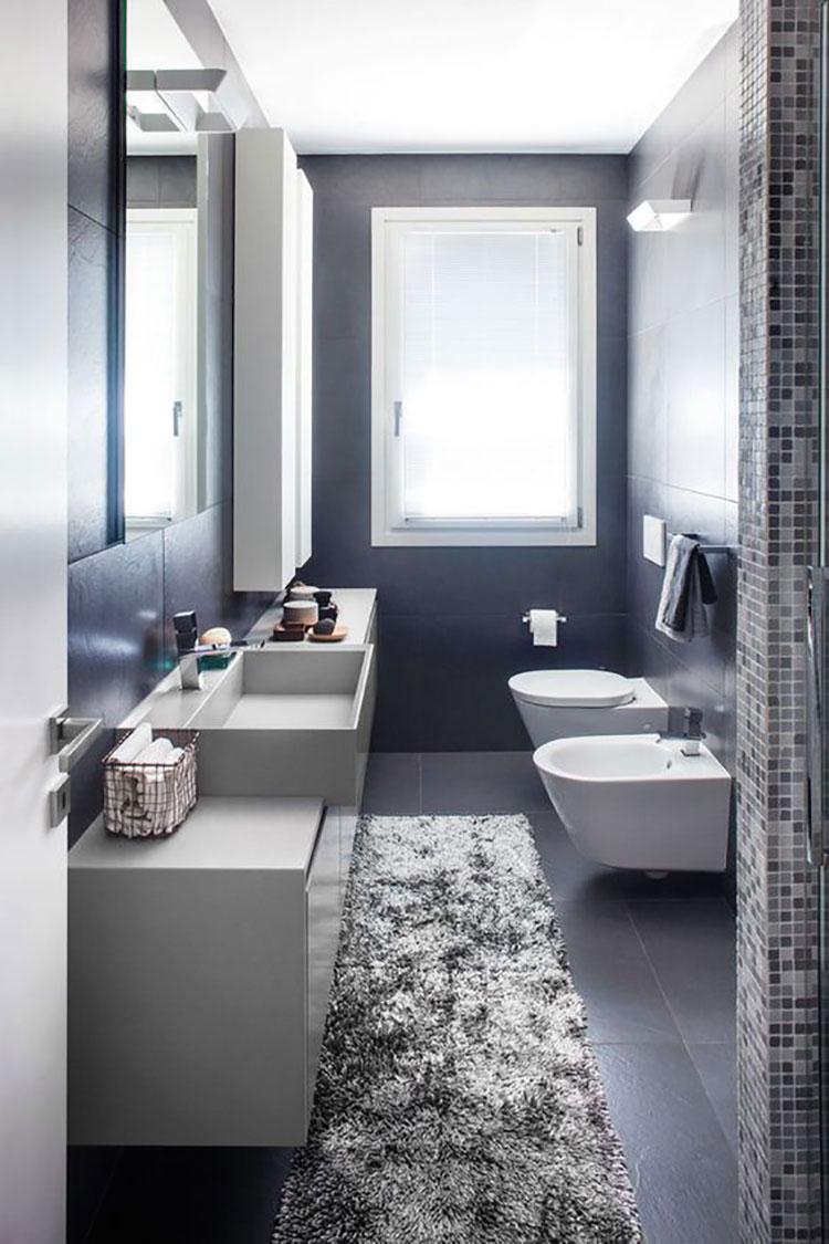 15 idee di design per arredare un bagno stretto e lungo - Idee mattonelle bagno ...