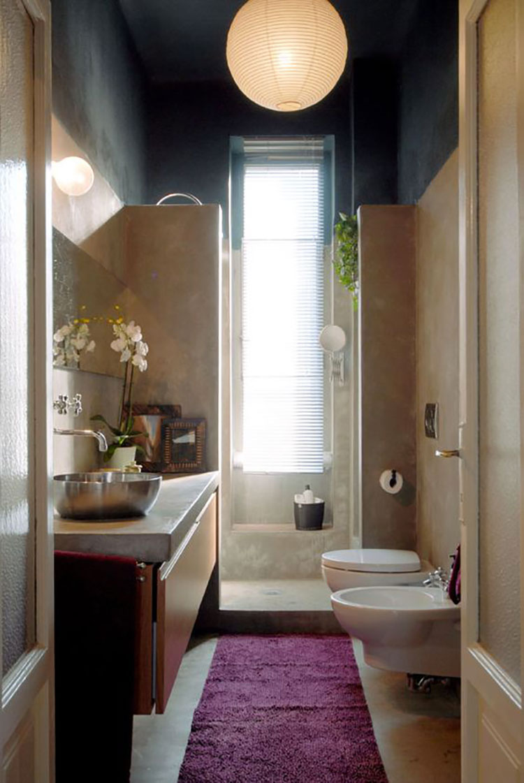 15 idee di design per arredare un bagno stretto e lungo - Modelli di bagno ...