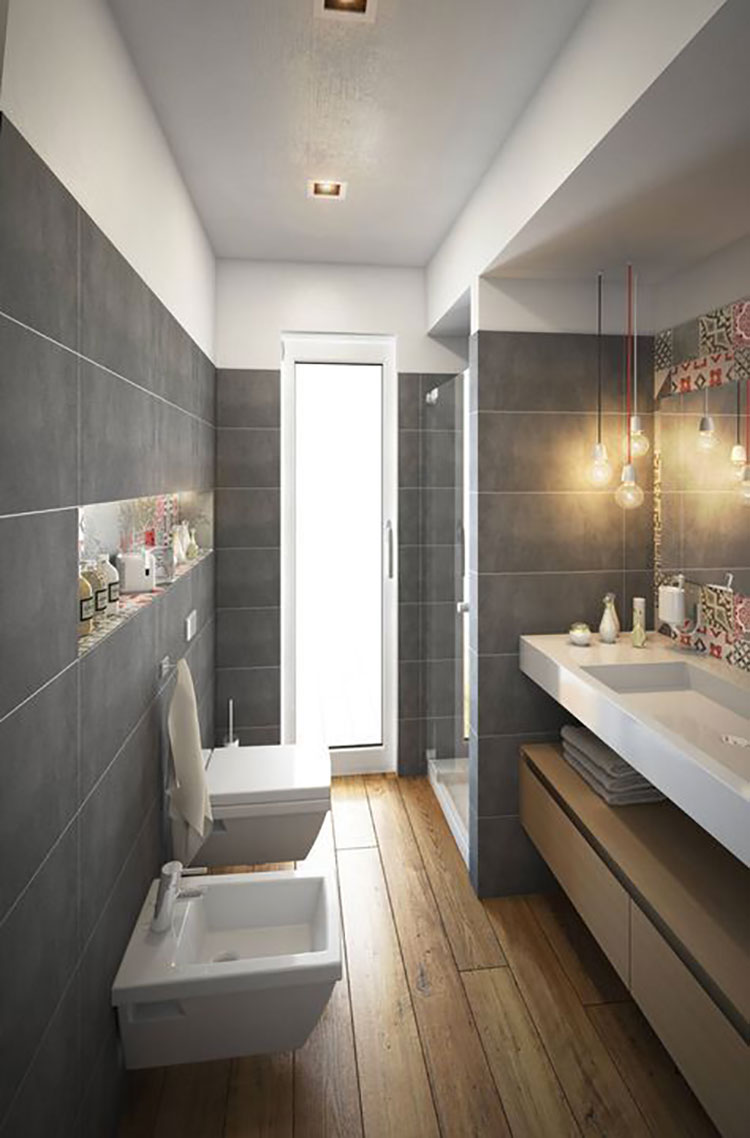 15 idee di design per arredare un bagno stretto e lungo - Idee specchi per bagno ...