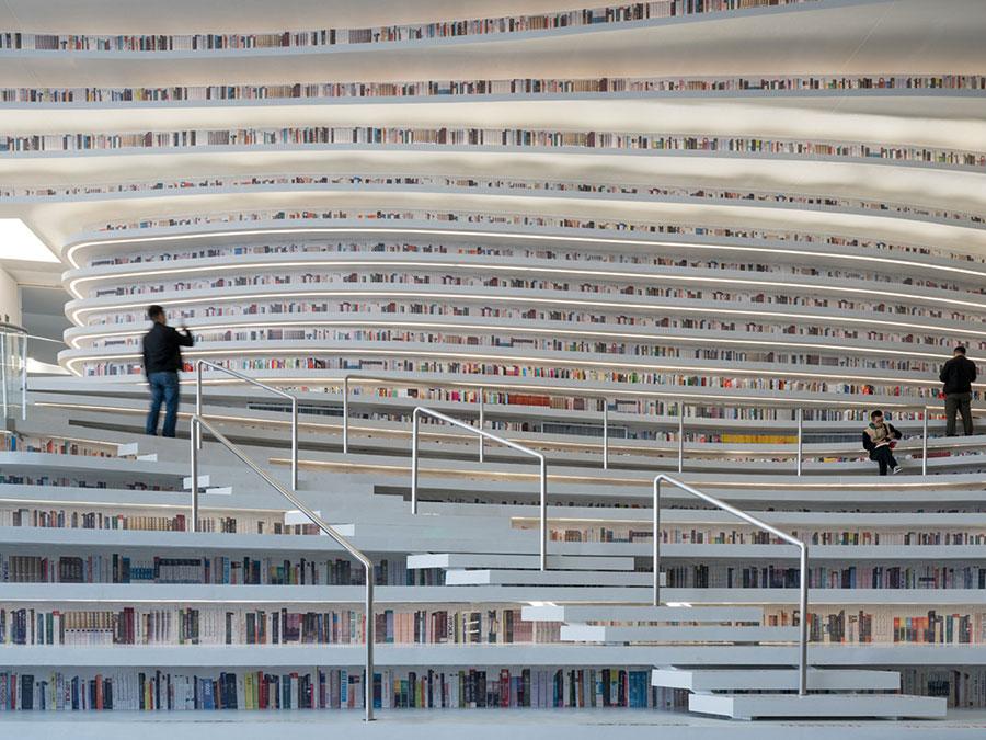 Immagine della biblioteca Tianjin Binhai in Cina n.11
