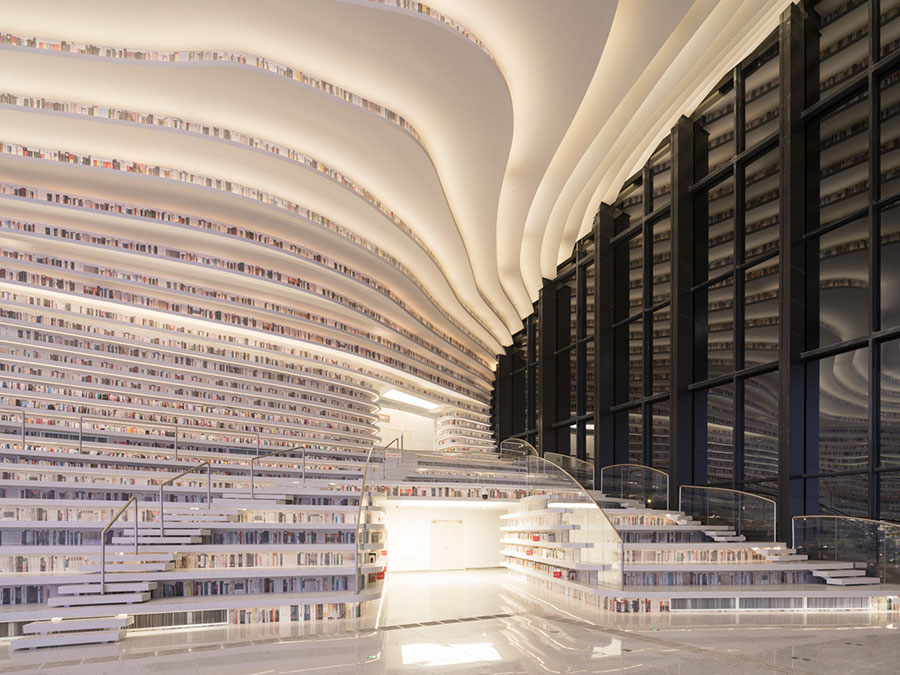 Immagine della biblioteca Tianjin Binhai in Cina n.13