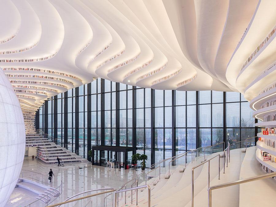 Immagine della biblioteca Tianjin Binhai in Cina n.4