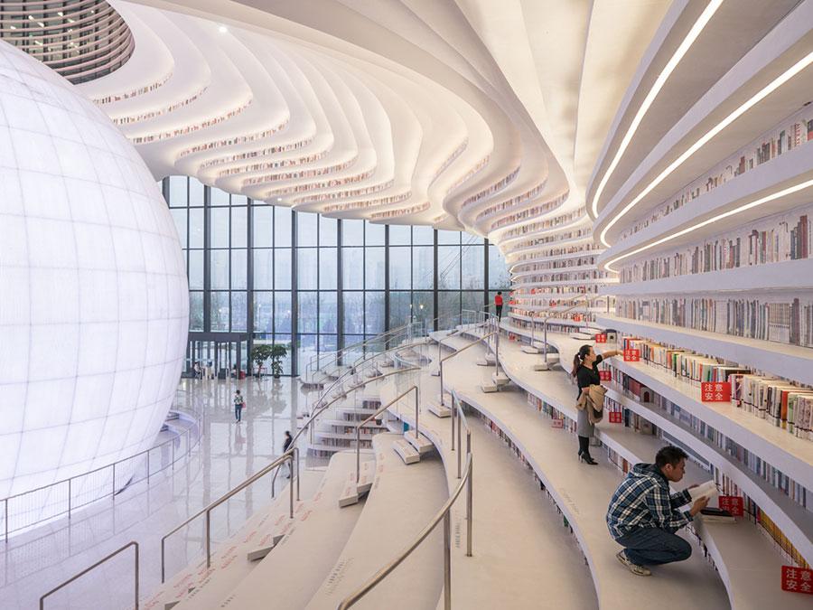 Immagine della biblioteca Tianjin Binhai in Cina n.6