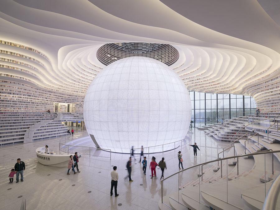 Immagine della biblioteca Tianjin Binhai in Cina n.7