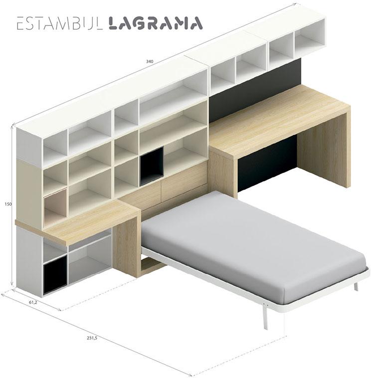 Modello di cameretta con letto a scomparsa di Lagrama n.06