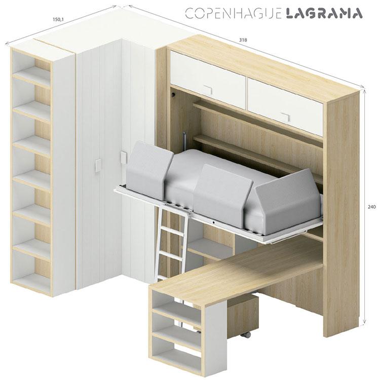Modello di cameretta con letto a scomparsa di Lagrama n.08