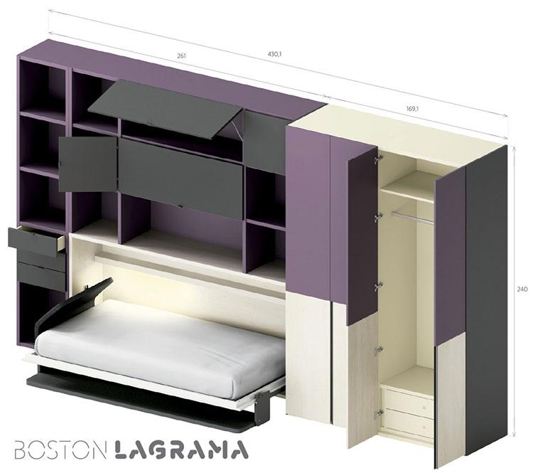 Modello di cameretta con letto a scomparsa di Lagrama n.10
