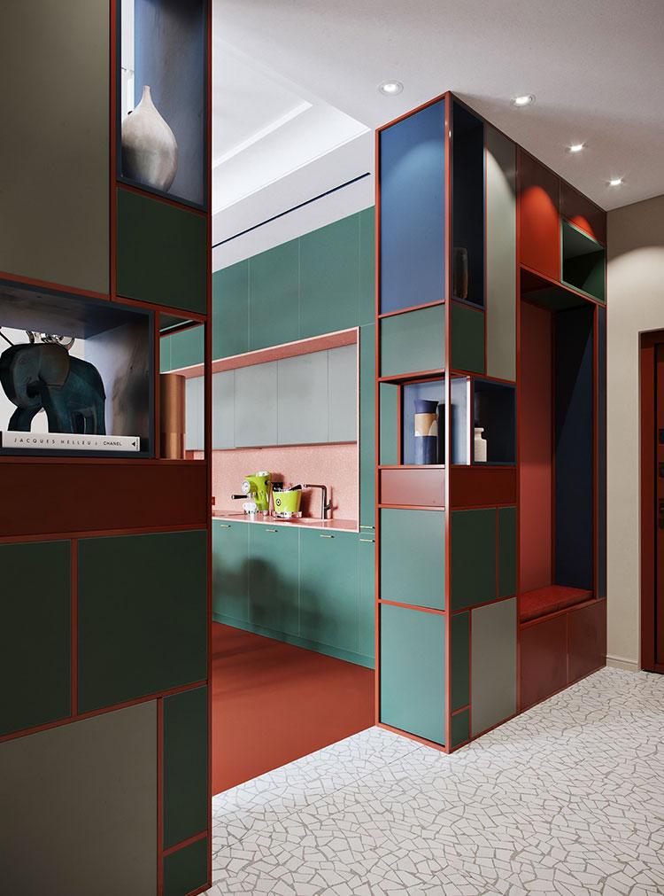 Casa con arredamento vintage nelle tonalità del rosso, blu e verde n.10