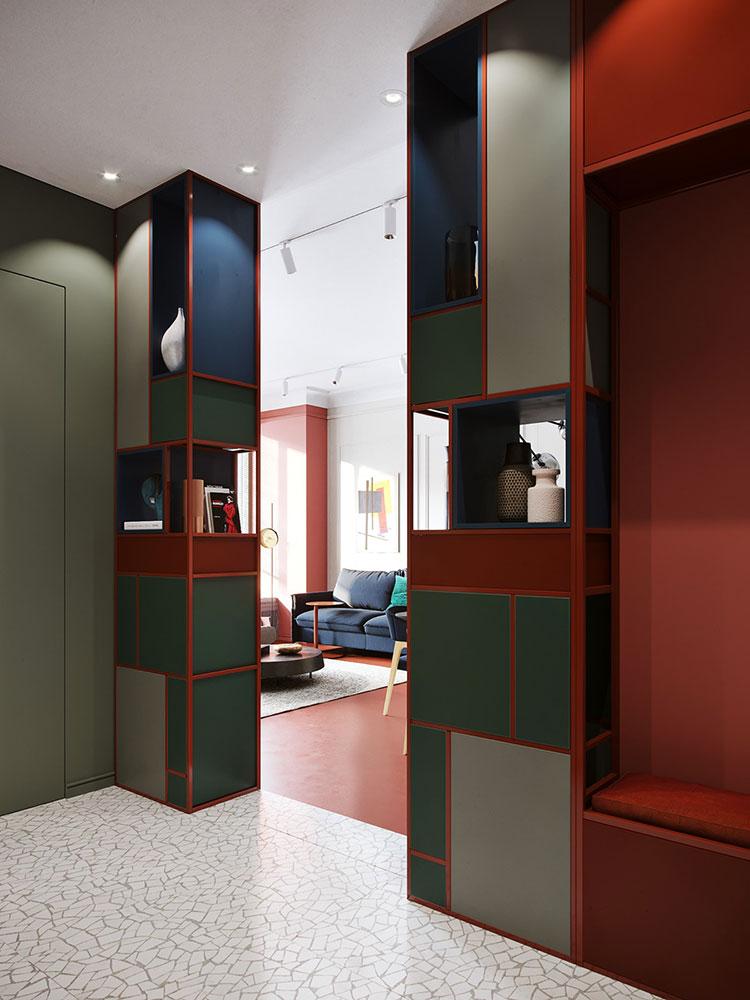 Casa con arredamento vintage nelle tonalità del rosso, blu e verde n.11
