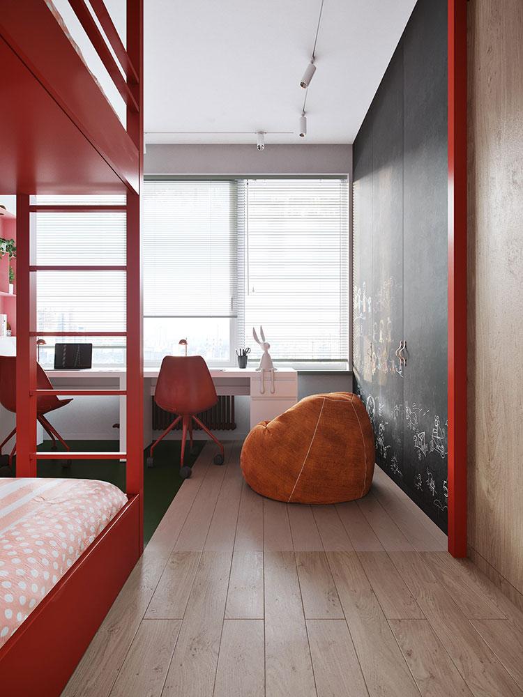 Casa con arredamento vintage nelle tonalità del rosso, blu e verde n.16