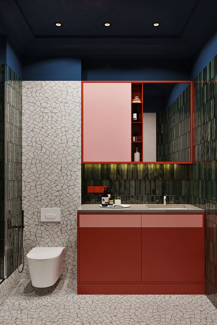 Casa con arredamento vintage nelle tonalità del rosso, blu e verde n.19