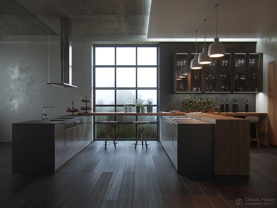 Modello di cucina senza pensili n.06