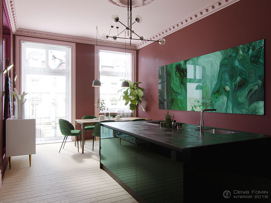 Pareti rosa per cucine moderne 03
