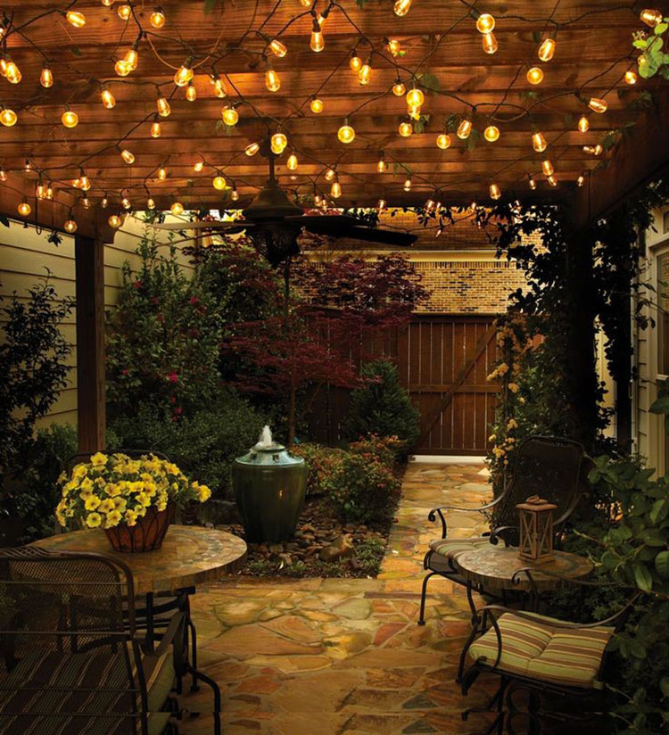 30 Stunning And Creative String Lights Wedding Decor Ideas: Giardino Shabby Chic: 30 Idee Di Arredamento Originali