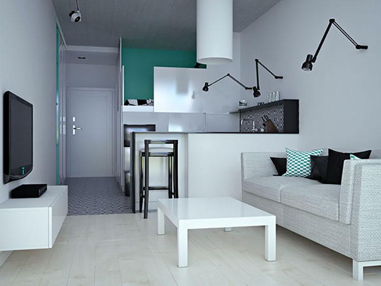 Come arredare un monolocale di 15 20 mq ecco 6 progetti di design - Termoarredo per bagno 6 mq ...