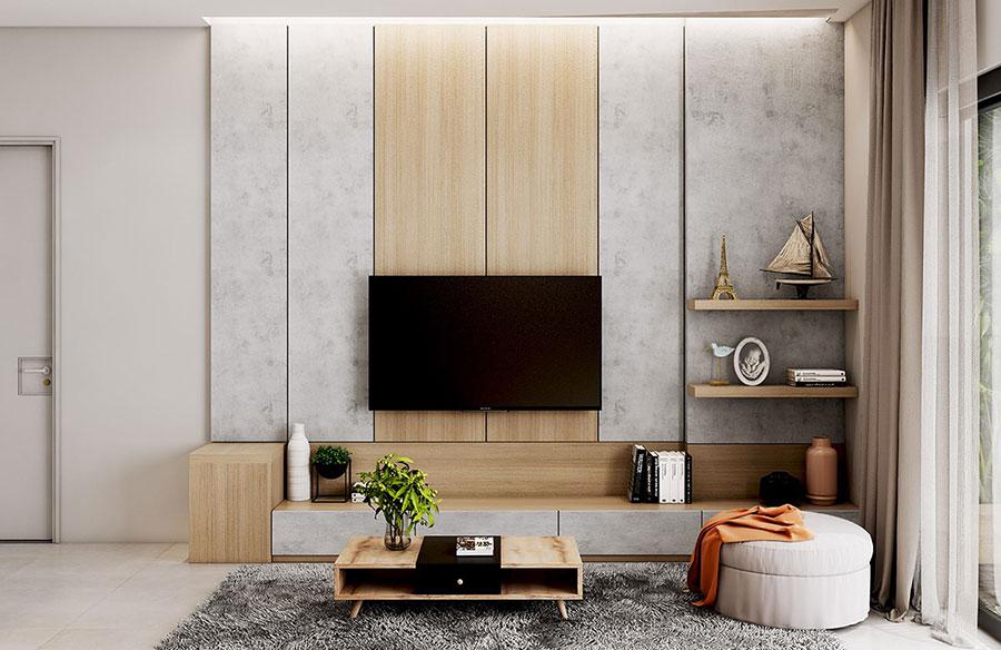 Parete tv 35 idee di arredamento dal design originale - How high to mount tv in living room ...