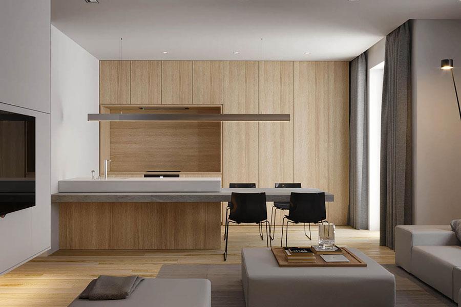 Arredamento bianco e legno 50 idee con foto di interni for Arredamento casa bianco