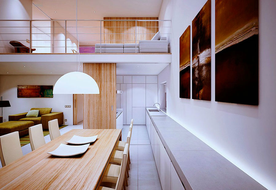 Arredamento per interni bianco e legno n.07