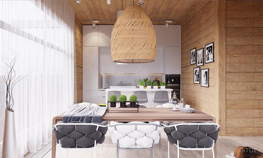 Arredamento per interni bianco e legno n.16