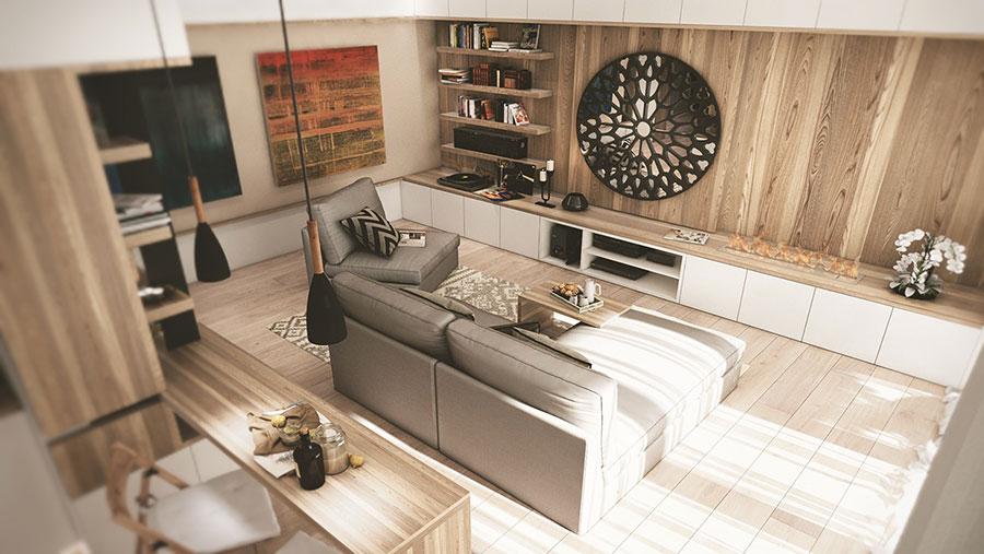 Arredamento per interni bianco e legno n.46