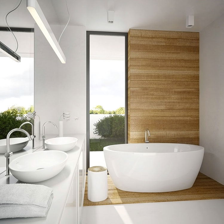 Arredamento per bagno bianco e legno n.01