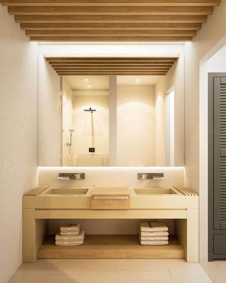Arredamento per bagno bianco e legno n.03