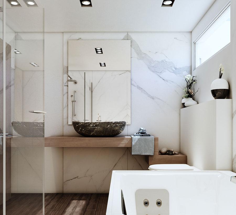 Arredamento per bagno bianco e legno n.04