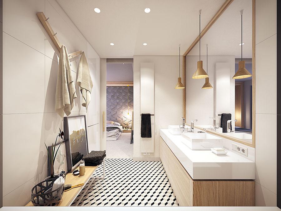 Arredamento per bagno bianco e legno n.05