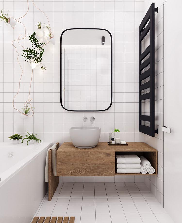 Arredamento per bagno bianco e legno n.06