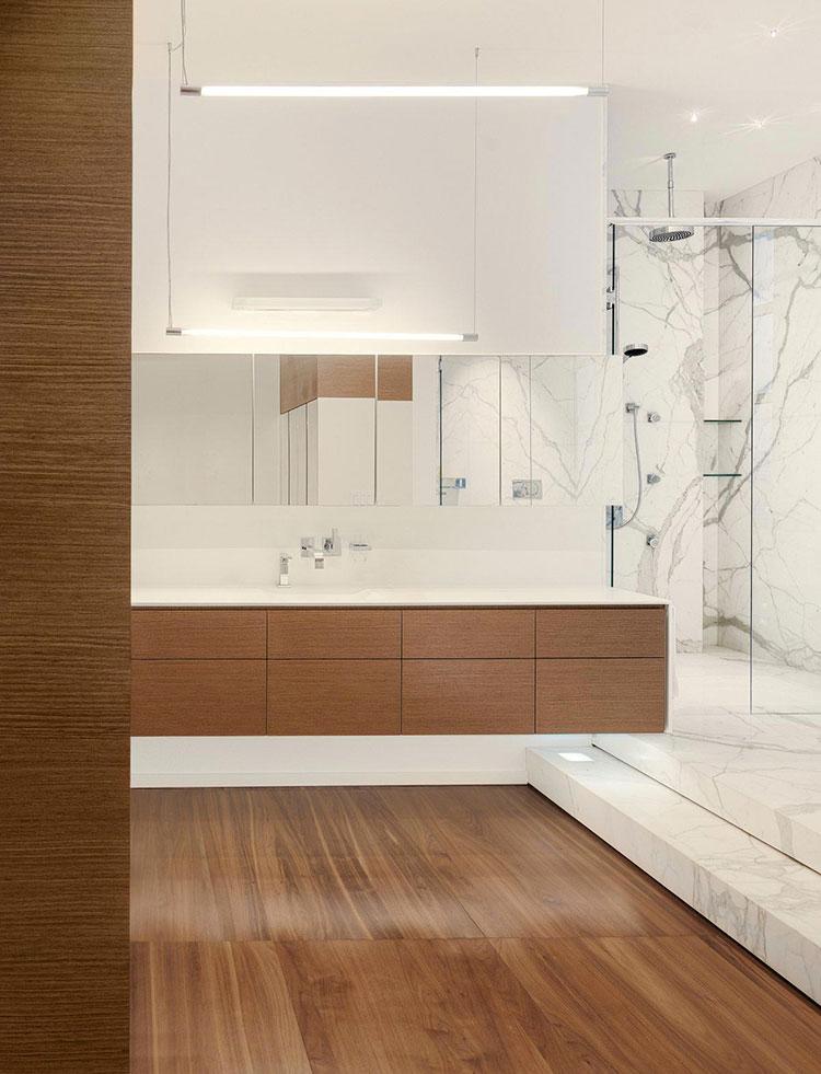 Arredamento per bagno bianco e legno n.10