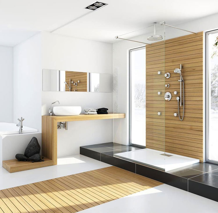 Arredamento per bagno bianco e legno n.12