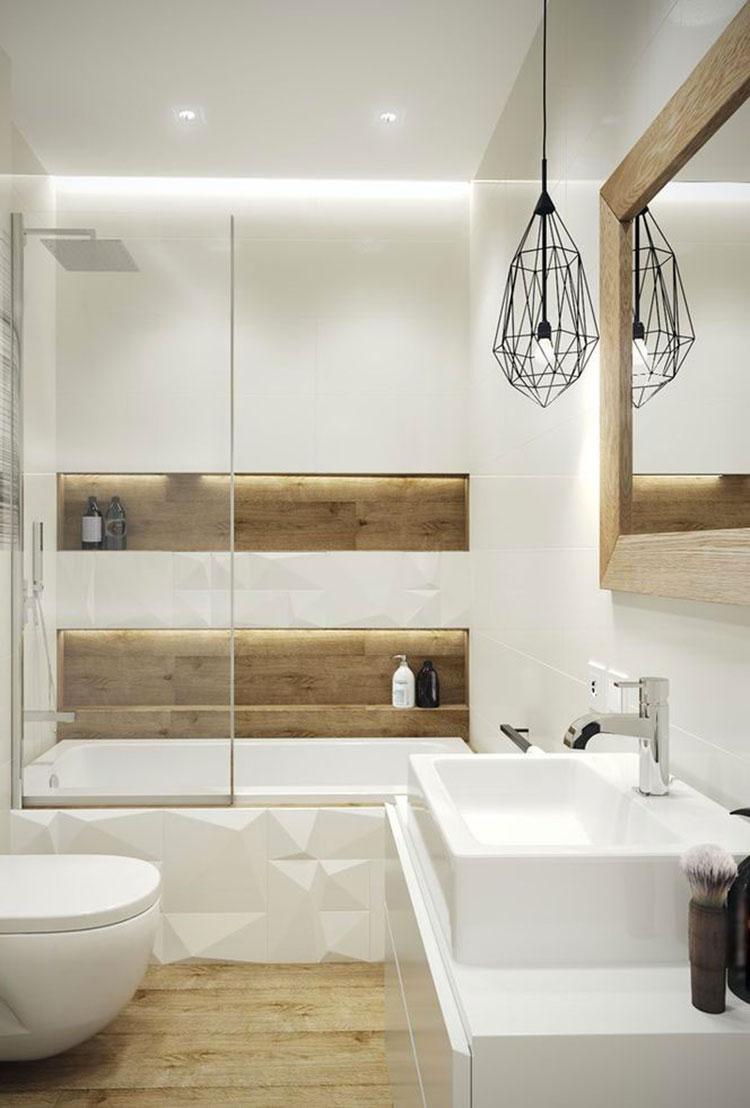 Arredamento per bagno bianco e legno n.13
