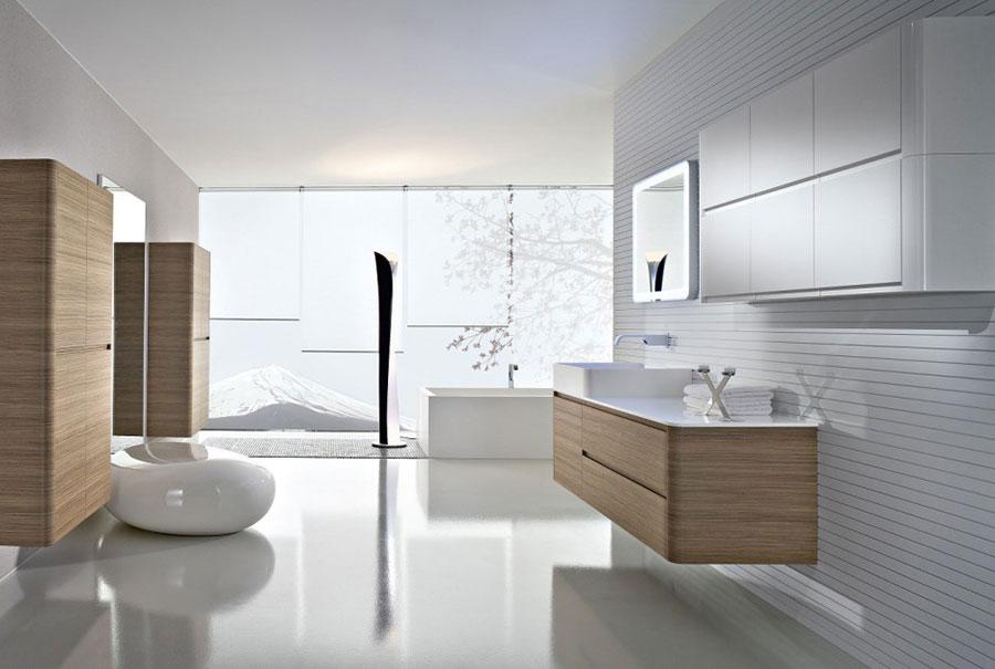 Arredamento per bagno bianco e legno n.15