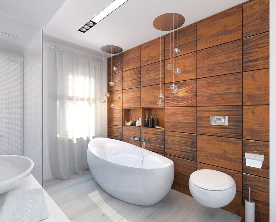 Arredamento per bagno bianco e legno n.17