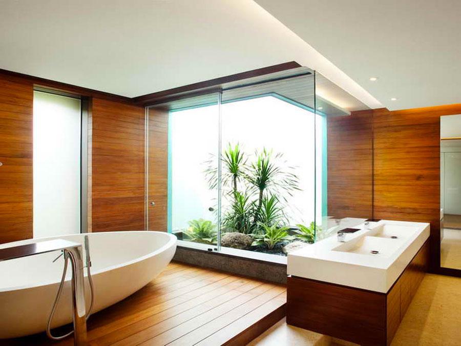 Arredamento per bagno bianco e legno n.18