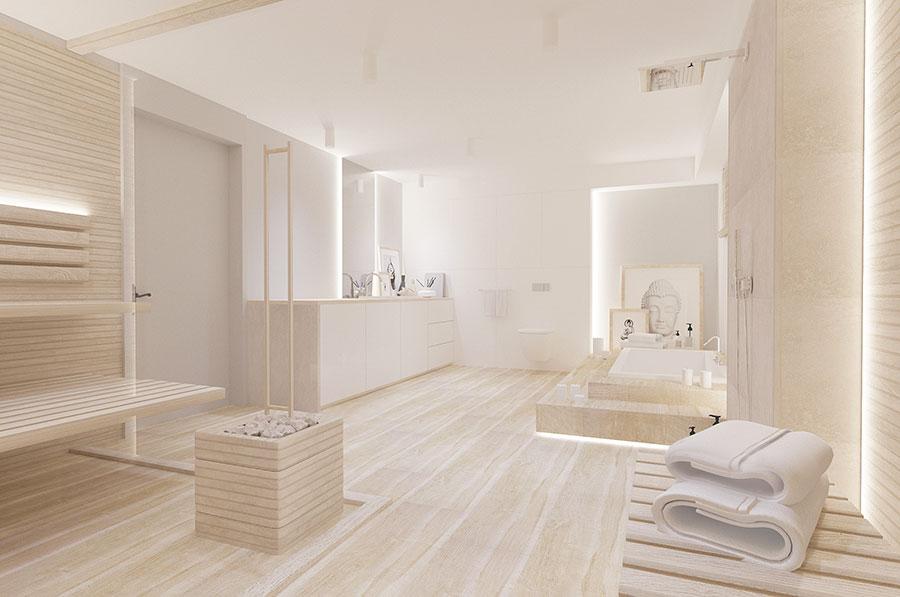 Arredamento per bagno bianco e legno n.19