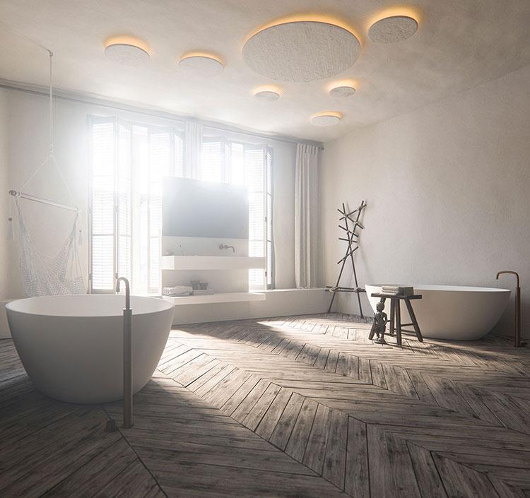 Arredamento per bagno bianco e legno n.20