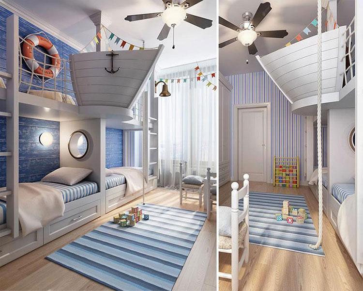 Camerette in stile marinaro ecco 25 idee di arredo for Arredo camerette bambini originali