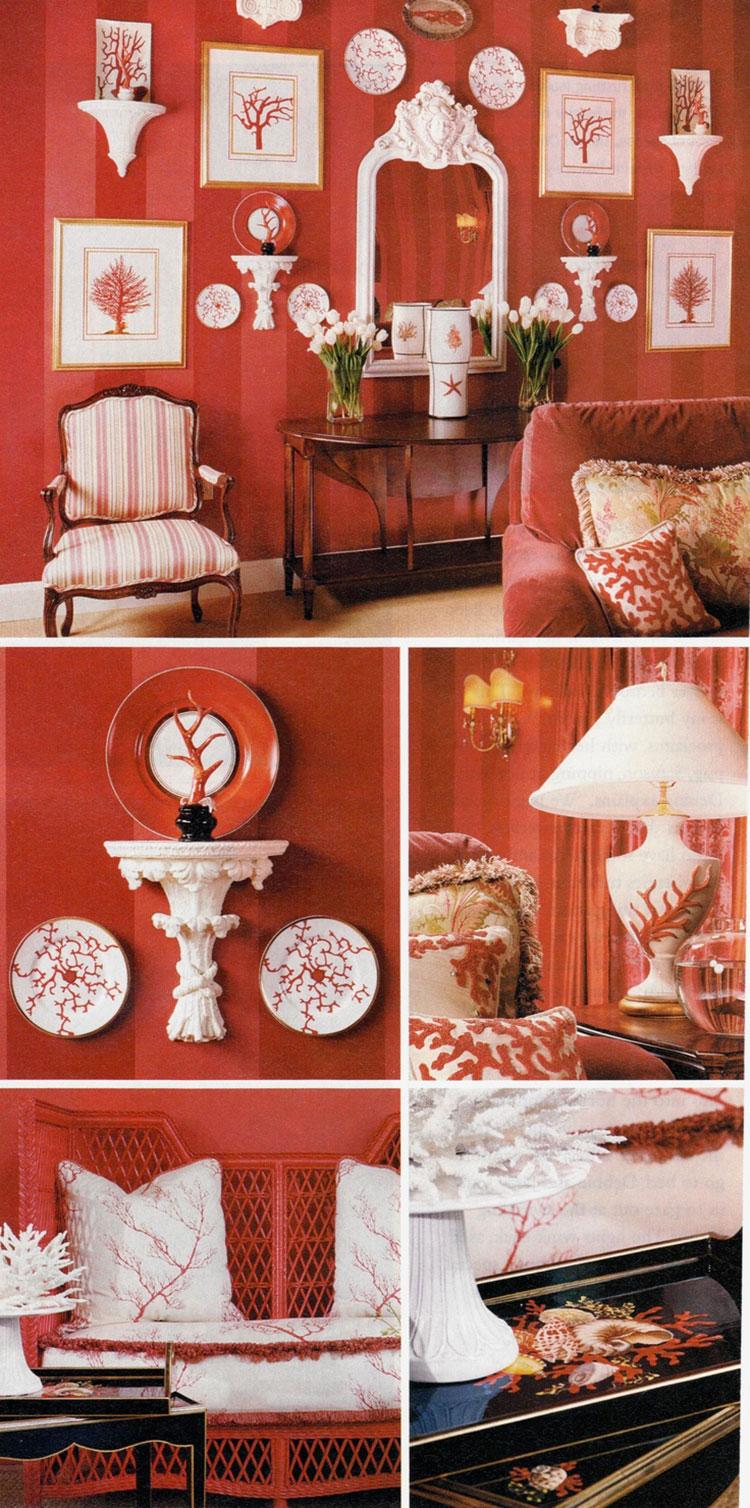 Idee per usare il colore rosso corallo in una casa al mare n.03