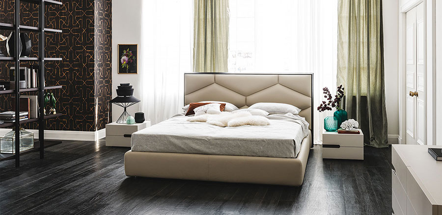 Modello di letto matrimoniale con contenitore marca Milano Bedding 02