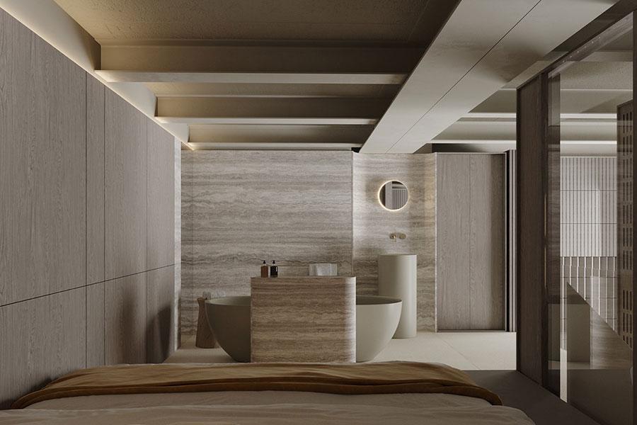 Idee per arredare il bagno in un loft moderno n.01