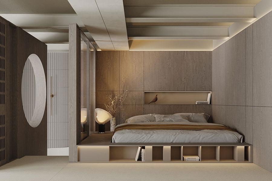 Idee per arredare la camera da letto in un loft moderno n.01
