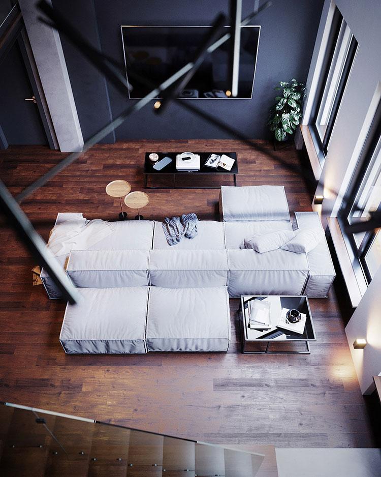 Idee per arredare il soggiorno in un loft moderno n.05