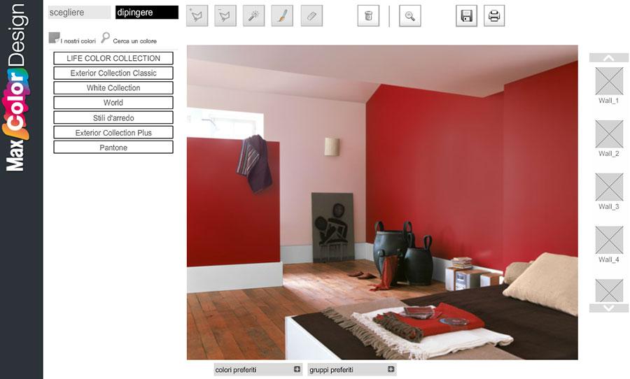 Simulatore di colore per pareti online Max Color Design