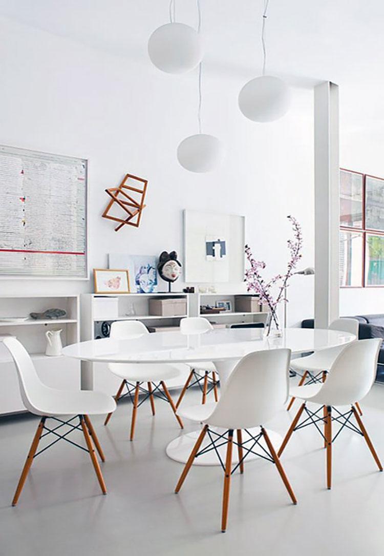 Sala da pranzo bianca 30 idee di arredamento originali for Arredamento sala pranzo