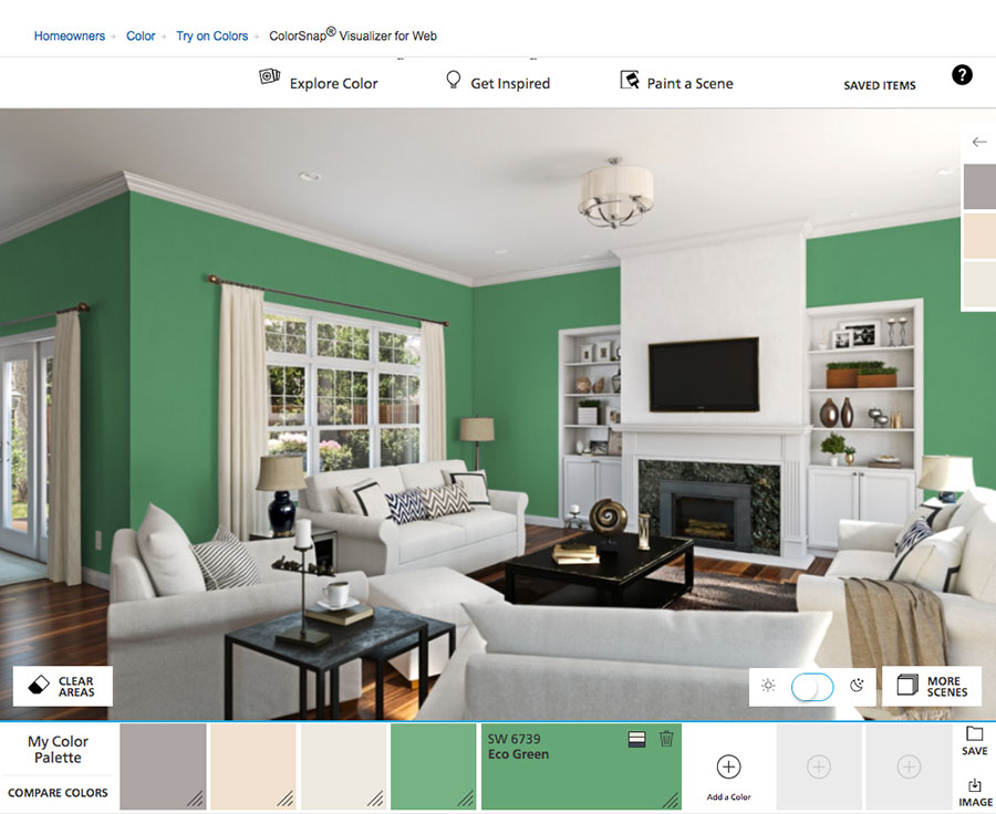 Simulatore di colore per pareti online Sherwin Williams